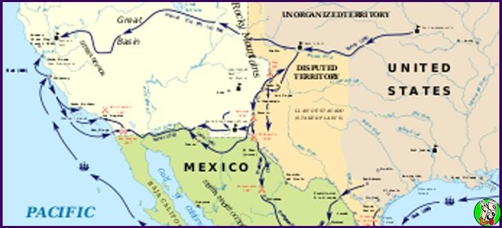 guerra eeuu mexico 1846 1848 mapa